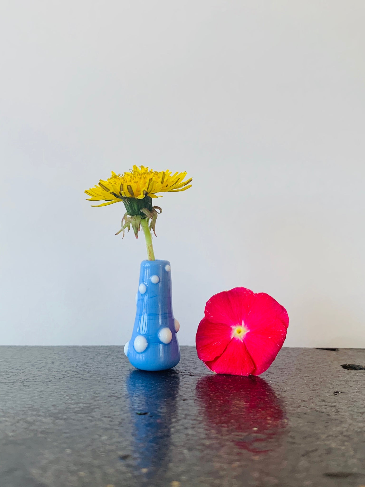 Custom Dandelion Vase - Blue with White Dots