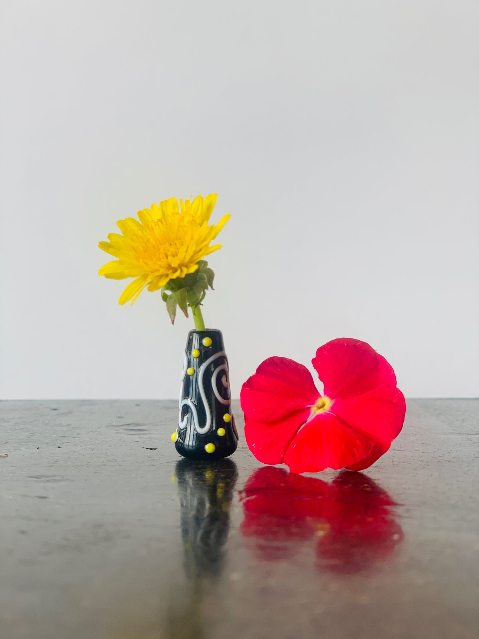 Custom Dandelion Vase - Black, White and Yellow Polka Dots