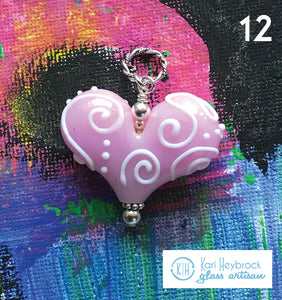 Heart of the Day - Cotton Candy Pink with White Swirls