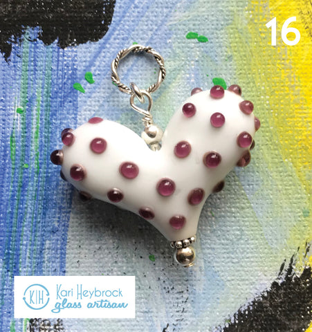 Heart of the Day - White Heart with Purple Polka Dots
