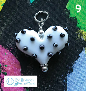 Heart of the Day - White Heart with Black & White Polka Dots