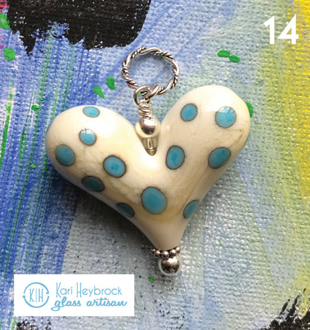 Heart of the Day - Cream with Turquoise Polka Dots