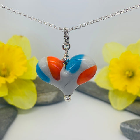 Colorblock Heart in Orange, Turquoise and Grey