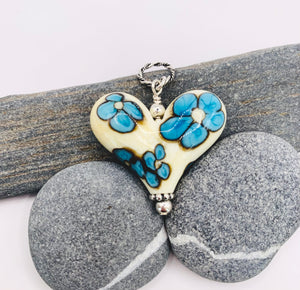 Turquoise and Cream Flowers Heart