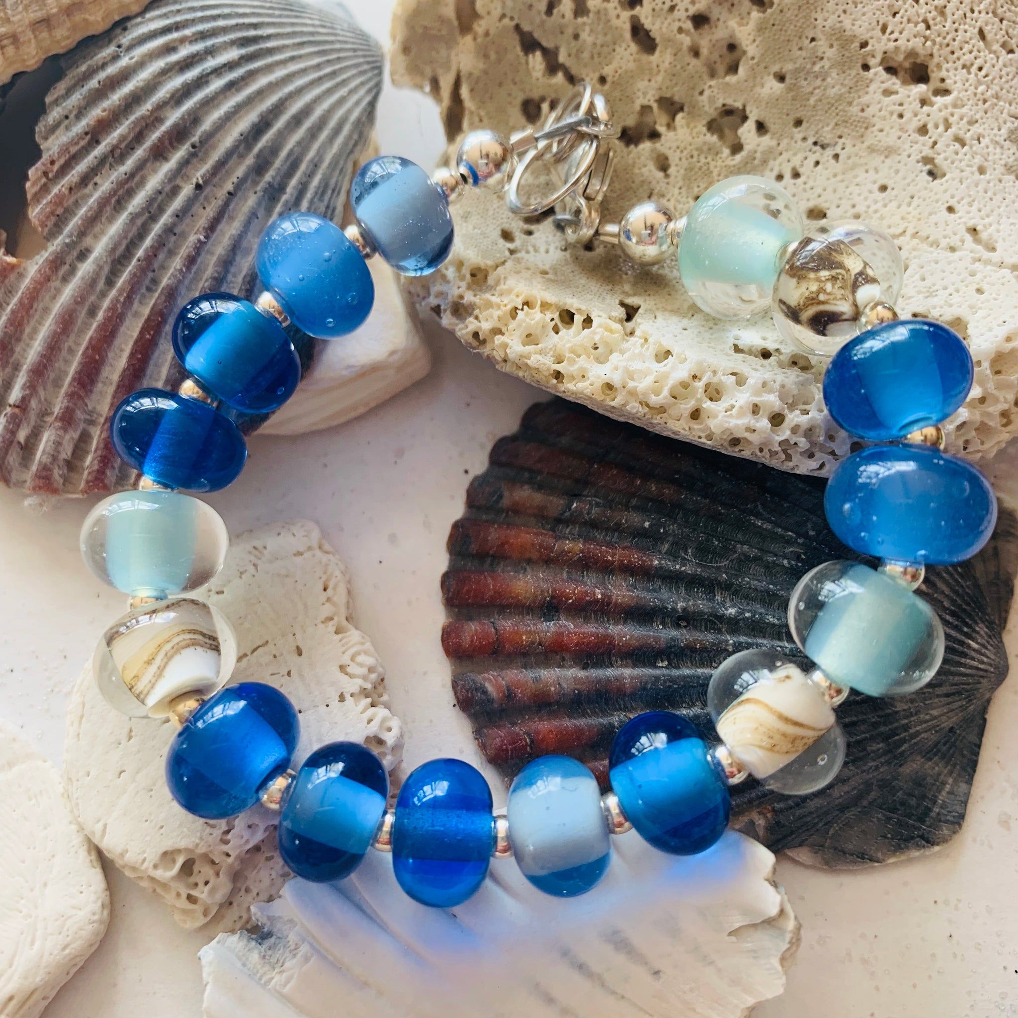 Beach Glass Pearl Bracelets