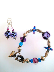 Bracelet and Earrings Set - Purple