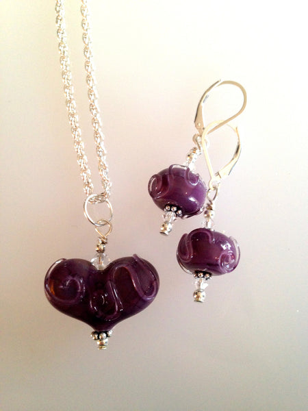 Small Heart Necklace & Matching Earring Set - Dark Red