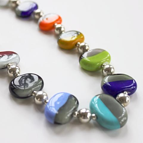 Flat Colorful Disk Necklace