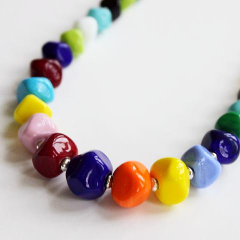 Multicolor Geometric Necklace