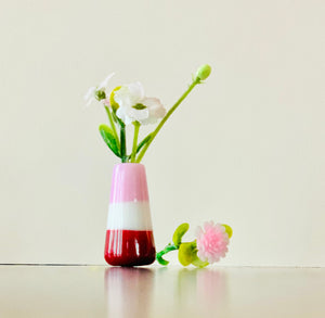 Dandelion Vase - White Pink and Red