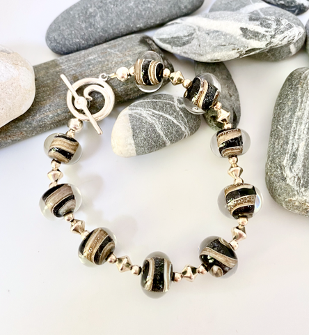 Gold and Black Swirl Bracelet