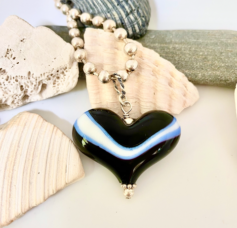 Black, White and Blue Custom Heart