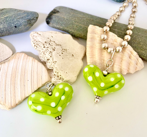 Lime Green Heart with White Polka Dots