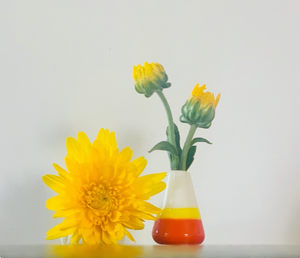 "Custom Dandelion Vase - ""Happy Fall"" Red and Orange"