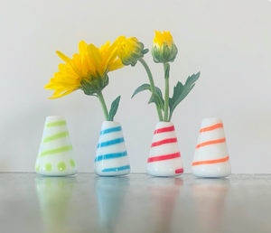 Custom Dandelion Vase -  White with Stripes