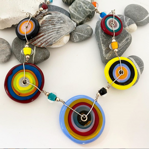 Colorful Flat Disk Necklace Multi