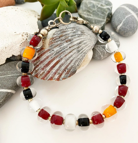 Glass Pearl Bracelet - Fall Colors