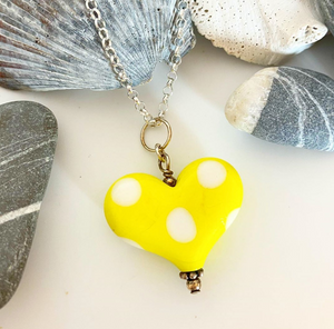 Yellow Small Heart - Polka Dots