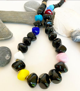 Black with Pops of Color Geometric Necklace