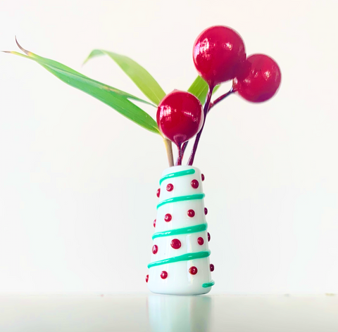 Custom Dandelion Vase - Holiday Green Swirls Red Polka Dots