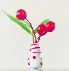 Custom Dandelion Vase - Holiday Red Dots and Swirls