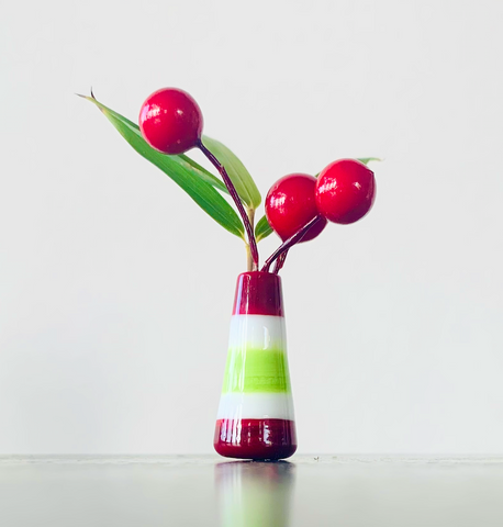Custom Dandelion Vase - Holiday Red, White, and Green