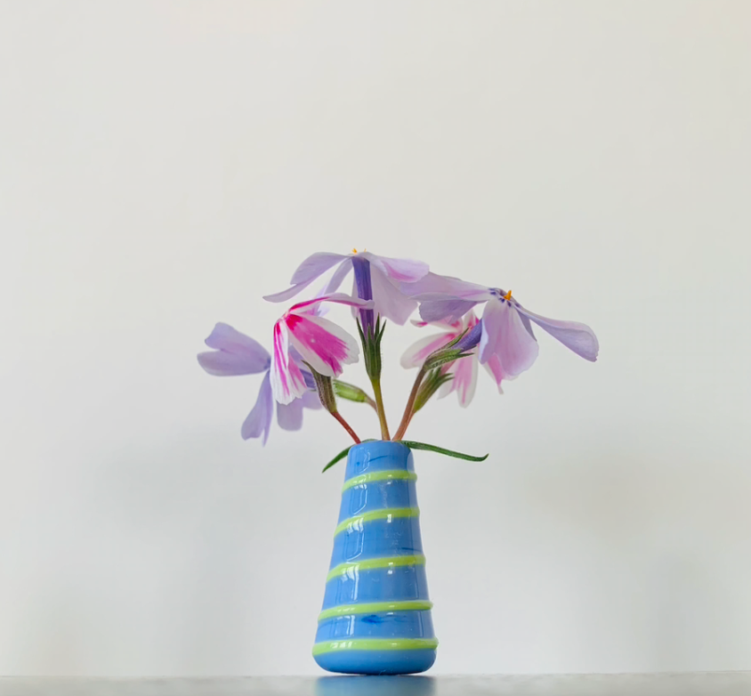 Dandelion Vase - Periwinkle with Lime Green Swirl