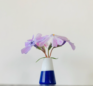 Dandelion Vase - Navy Blue and White Colorblock