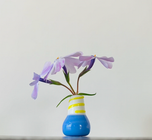 Dandelion Vase - Blue with Yellow Swirls