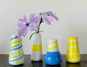 Dandelion Vase - Yellow and Periwinkle Combination
