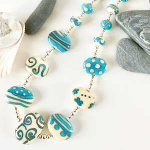 Turquoise and Cream Flat Bead Necklace