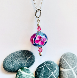 Floral pendant in Hot Pink