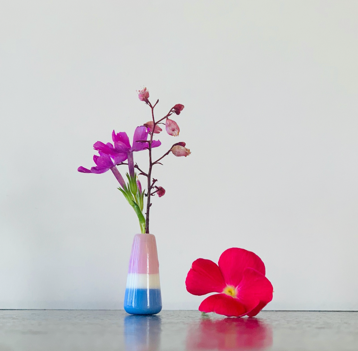 Custom Dandelion Vase - White, Pink, and Blue
