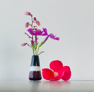 Custom Dandelion Vase - Burgundy, Black and White