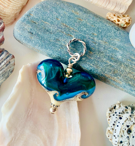 Small Beach Landscape Heart (Aqua)