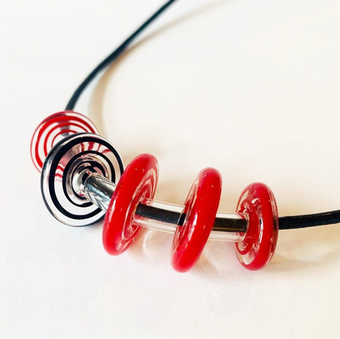 Black and Red Floating Necklace