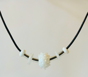 Floating Necklace - White with Clear Bumps