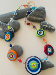 Colorful Flat Disk Necklace