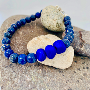 Natural Lapis and Glass Bead Bracelet