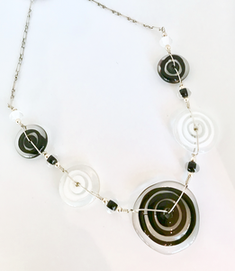 Black and White Flat Disk Necklace