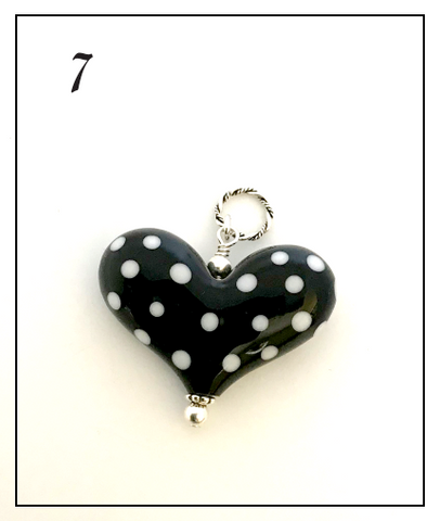 Heart of the Day - Black with White Polka Dots
