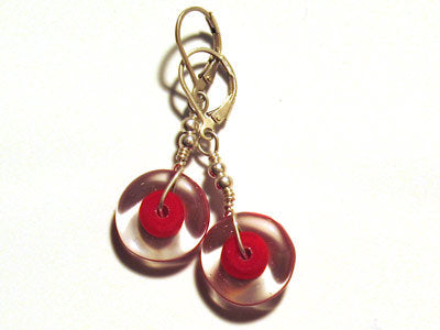 Earrings - Disks - Red
