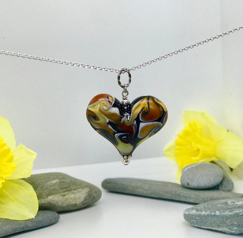 Gold and Black Fire Heart
