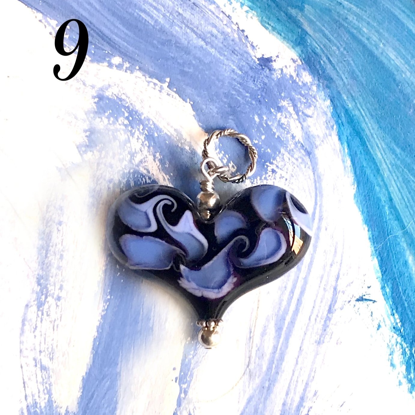 Heart of the Day - Black and Blue Fire Heart