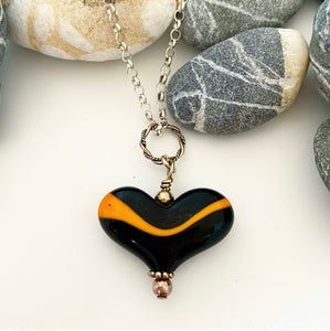 Black and Orange October Heart
