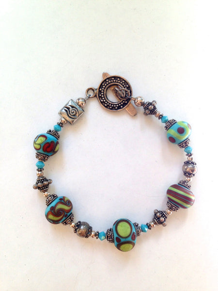 Turquoise Glass Bead and Silver Bracelet