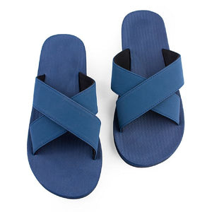 Men's 100% recycled cross slides in shore blue by Indosole Australia