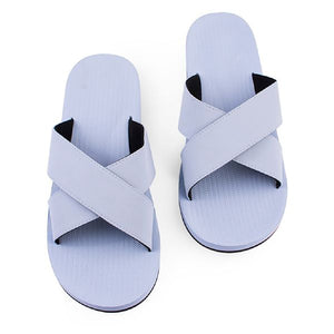 Women's 100% recycled cross slides in light shore blue by Indosole Australia