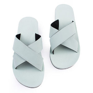 Women's 100% recycled cross slides in light leaf green by Indosole Australia