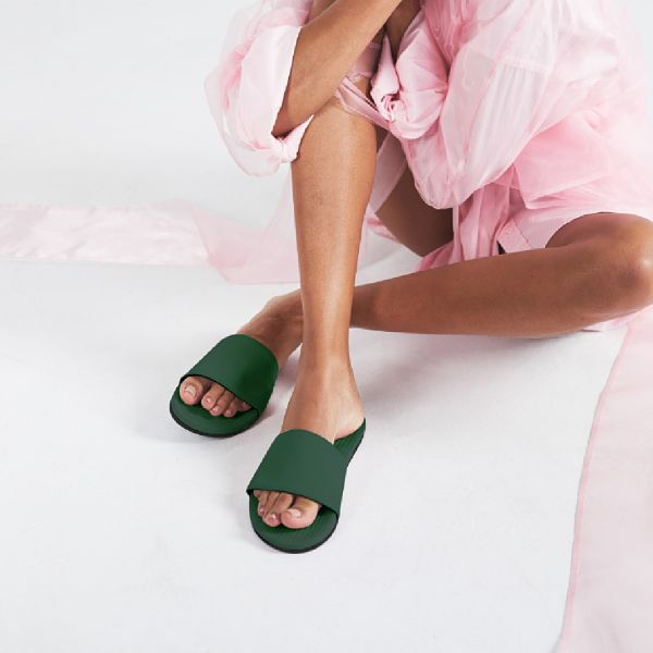 Women's 100% recycled slides in leaf green by Indosole Australia